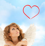Unhappy teenage angel girl Royalty Free Stock Photos