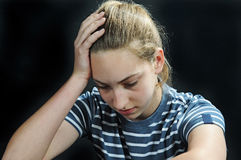 Unhappy. Teenager girl feeling lonely Stock Photo