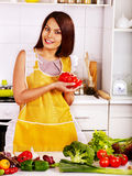Unhappy tired woman at kitchen. Royalty Free Stock Image