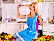 Unhappy tired woman at kitchen Royalty Free Stock Images