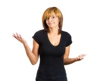 Unhappy woman asking whats the problem Stock Photography