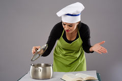 Unhappy woman chef Royalty Free Stock Photo