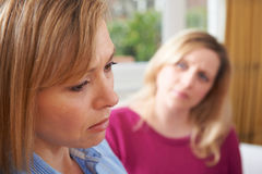 Unhappy Woman In Conversation With Friend Or Counsellor Stock Images