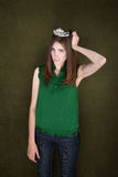 Unhappy Woman with Crown Stock Photography