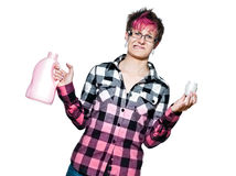 Unhappy woman with detergent Royalty Free Stock Images