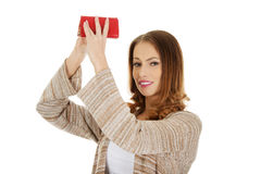 Unhappy woman with empty wallet. Stock Image
