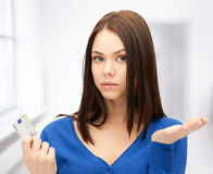 Unhappy woman with euro cash money Stock Image
