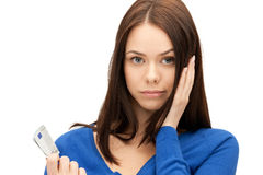 Unhappy woman with euro cash money Royalty Free Stock Photo