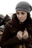 Unhappy woman feeling cold and lonely Royalty Free Stock Photo