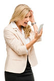 Unhappy woman fighting using mobile phone isolated on white back Stock Images