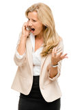 Unhappy woman fighting using mobile phone isolated on white back Stock Photography