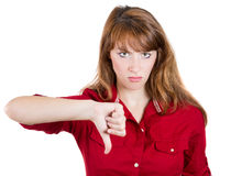 Unhappy woman giving thumbs down gesture Royalty Free Stock Photo