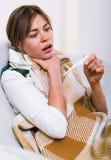 Unhappy woman having heavy sickly tonsillitis Royalty Free Stock Photo