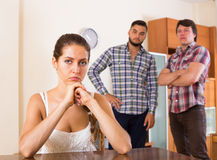Unhappy woman  having troubles with family Royalty Free Stock Images