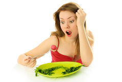 Unhappy woman keeping a diet Stock Photography