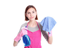 Unhappy woman mother cleaning Royalty Free Stock Photo