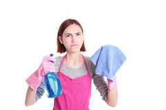 Unhappy woman mother cleaning Stock Images