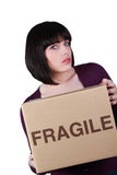 Unhappy woman on moving day Royalty Free Stock Photo