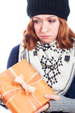 Unhappy woman with present Stock Photography