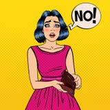 Unhappy Woman Showing Empty Wallet. Financial Failure. Pop Art. Vector illustration Stock Photo