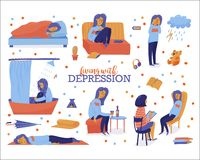 Unhappy woman showing symptoms of depression. Living with depression set - young unhappy woman sleeping, overeating, drinking alone, crying, sitting in shower vector illustration