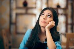 Thoughtful Girl Feeling Bored and Apathetic stock image