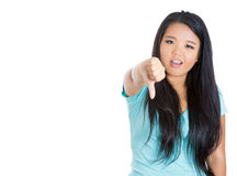 Unhappy woman, student, businessperson giving thumbs down gesture Stock Photo