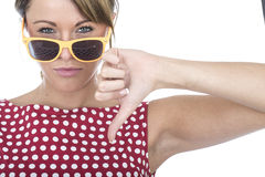 Unhappy Woman Wearing Sun Glasses Thumbs Down Stock Image