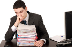 Worried business man with a lot of work. Stock Images