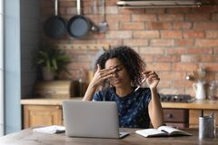 Free Unhappy Young African American Woman Taking Off Eyeglasses, Feeling Tired. Royalty Free Stock Photos - 204050948