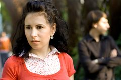 Unhappy young couple. Outdoor portrait of unhappy young couple Stock Photography
