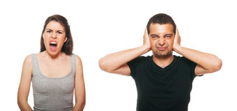 Unhappy young couple having an argument Stock Photos