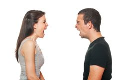 Unhappy young couple having an argument. Isolated on white Stock Photography