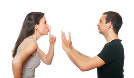 Unhappy young couple having an argument Stock Photo