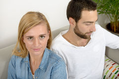 Unhappy young couple with problems Stock Photos