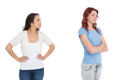 Unhappy young female friends not talking after argument Stock Photo