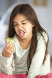 Unhappy Young Girl Rejecting Plate Of Fresh Vegetables Stock Photos