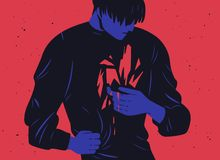Unhappy young man and his inner trauma or bleeding scar. Concept of depression, mental breakdown, psychical problem. Psychological wounds, emotional crisis stock illustration