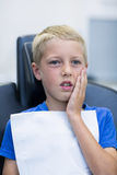 Unhappy young patient having a toothache Stock Photo