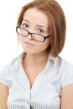 Unhappy Young Teacher Wearing Eyeglasses Stock Images