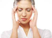 Unhappy young woman with bad headache Stock Photography