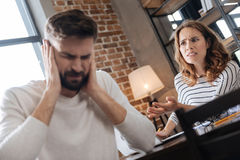 Unhappy young woman being mad at her boyfriend Stock Photo