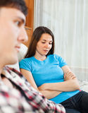 Unhappy young woman after conflict with man Royalty Free Stock Photo