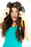 Woman shouting for help hair problem Stock Photo