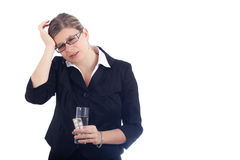 Unhappy young woman with headache Stock Image