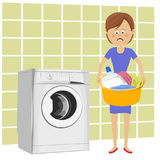 Unhappy young woman standing next to washing machine with basin filled with dirty clothes Royalty Free Stock Photo