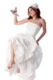 Unhappy young woman in a wedding dress Royalty Free Stock Photos