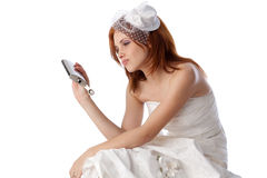 Unhappy young woman in a wedding dress Stock Photography