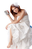 Unhappy young woman in a wedding dress Royalty Free Stock Images