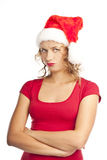 Unhappy young woman on white background. Christmas Royalty Free Stock Photos